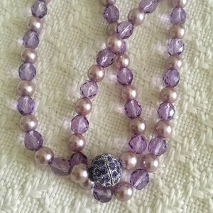 Vintage Joan Rivers Purple Beaded Necklace